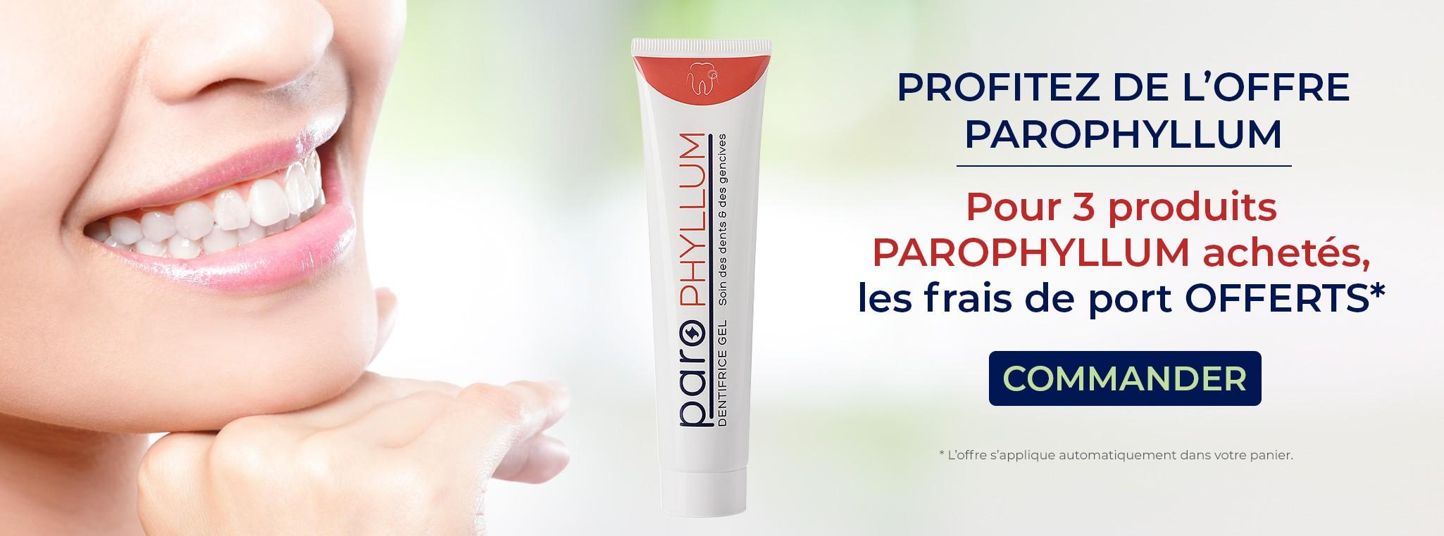 Pour 3 produits PAROPHYLLUM achetés, les frais de port offerts.